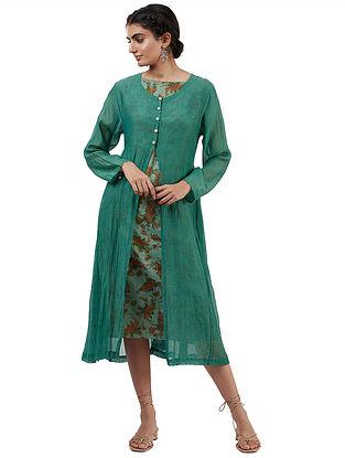 Orna Green Silk Cotton and Silk Cape