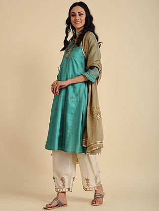 Sania Forest Green Silk Kurta