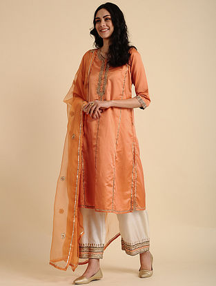 Tara Orange Silk Cotton Kurta