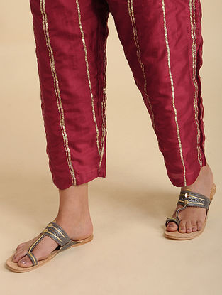 Ayeza Maroon Silk Pyjama