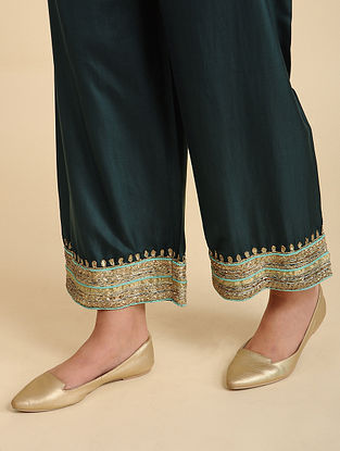 Sakeena Bottle Green Silk Pyjama