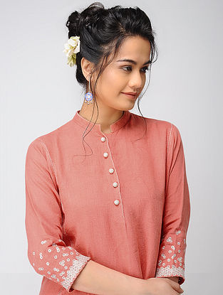 Pink Linen Kurta with Embroidery