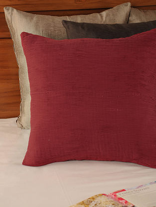 Pleated Cotton Red Cushion Cover 18in X 18in