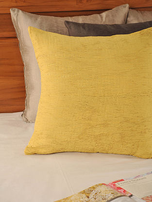 Pleated Cotton Yellow Cushion Cover 18in X 18in