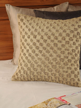 Pleated & Tucked Tassar-Viscose Olive Cushion Cover 18in X 18in