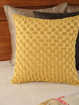 Pleated & Tucked Tassar- Viscose Yellow Cushion Cover 17.5in X 17.5in