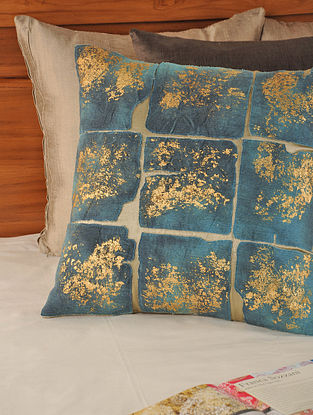 Patchwork Mushroo Turquoise-Charcoal Cushion Cover 18in X 18in