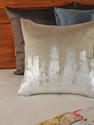 Foil Printed Tassar-Viscose Silver-Grey Cushion Cover 18in X 17.5in