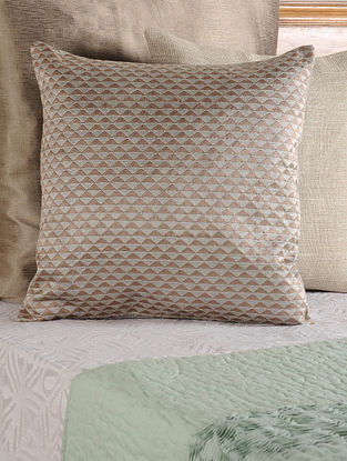 Embroidered Tussar Viscose Brown Cushion Cover 18in X 18in