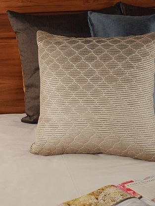 Pleated Tassar-Viscose Stone Cushion Cover 18in X 18in