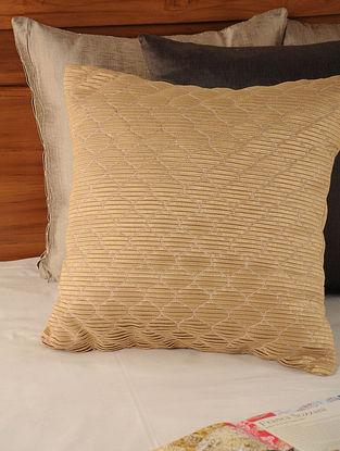 Pleated Tassar-Viscose Golden Cushion Cover 18in X 17.5in