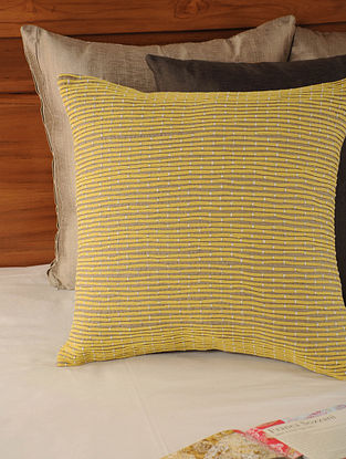 Dori Work Cottonflax Yellow-Brown Cushion Cover 17in X 17in