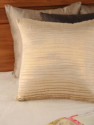 Pleated Tassar-Viscose Lurex Golden Cushion Cover 18in X 18in