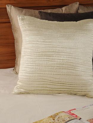 Pleated Tassar-Viscose Lurex Silver Cushion Cover 18in X 18in