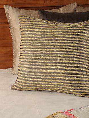 Stripes Mushroo Charcoal-Gold Cushion Cover 18in X 18in