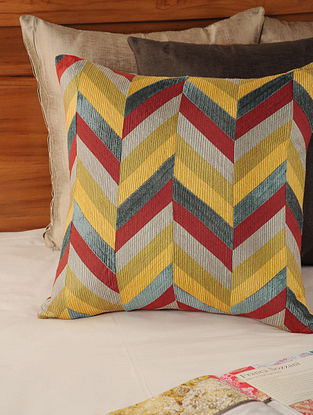Geometric Patch Work Tassar-Viscose Red-Multicolor Cushion Cover 18in X 17.5in