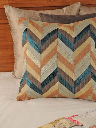 Tassar-Viscose Brown-Multicolor Cushion Cover 18in X 17.5in