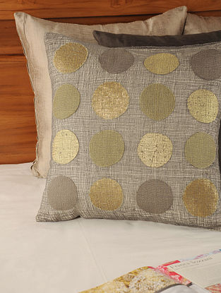 Circular Applique on Mesh Linen Cotton Grey-Golden Cushion Cover 18in X 17.5in