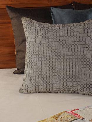 Thread Jaal Linen Cotton Slub Grey Cushion Cover 18in X 17.5in
