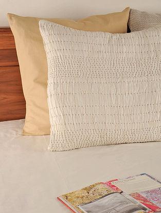 Kantha Silk-Cotton Off White Euro Sham 25.5in X 25.5in