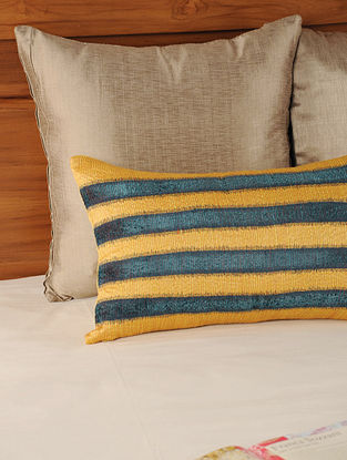 Patch Work Tassar-Viscose Yellow-Teal Cushion Cover 19.5in X 12in