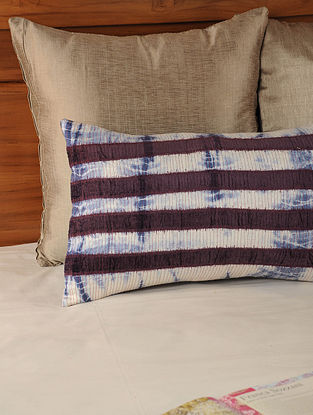 Shibori Patch Work Tassar-Viscose Maroon-Indigo Cushion Cover 19in X 12in