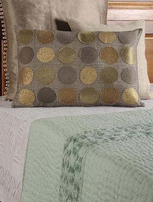 Circular Applique on Mesh Linen Grey-Golden Cushion Cover 23in X 16in