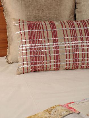 Dori Work Linen Cotton Red-Stone Cushion Cover 19.5in X 12in