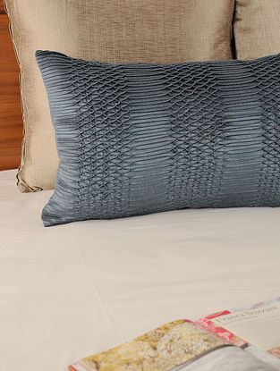 Pleated & Tucked Tassar-Viscose Grey Cushion Cover 20in X 12in