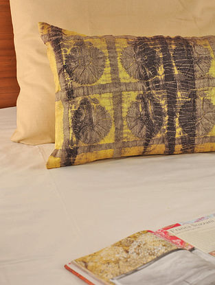 Tie-Dye Dori Work Tassar-Viscose Mustard-Beige Cushion Cover 27in X 14in