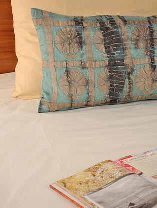 Tie-Dye Dori Work Tassar-Viscose Aqua-Beige Cushion Cover 27in X 14in