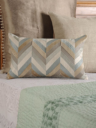 Geomatric Patch Work Tussar Viscose Grey-Multicolor Cushion Cover 20in X 12in