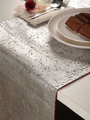 Foil Printed Linen Cotton Silver Table Runner 98in X 16in