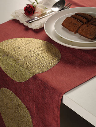 Patch Work Tassar-Viscose Red-Gold Table Runner 58in X 16in