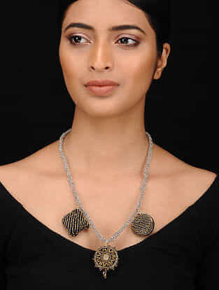 Black Dual Tone Embroidered Necklace