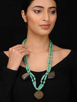 Green Black Gold Tone Embroidered Necklace