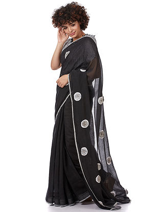 Black Printed Silk-Cotton Saree