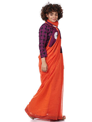 Orange Silk-Cotton Saree