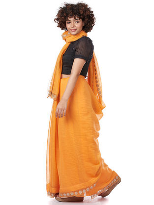 Yellow Silk-Cotton Saree