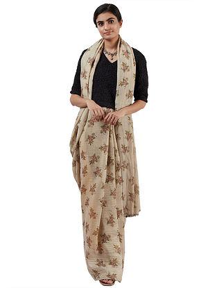 Beige-Brown Handwoven Silk Cotton Saree