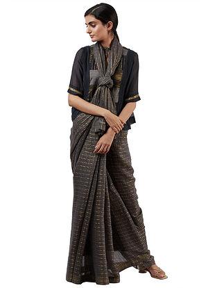 Grey-Golden Handwoven Silk Cotton Saree