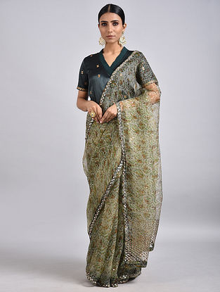 Grey Printed Silk Saree