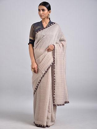 Ivory Silk Cotton Saree with Zari