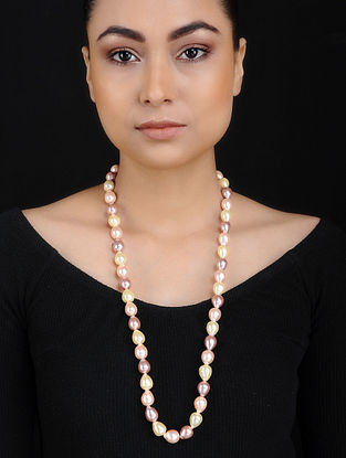 Yellow Pink Baroque Pearl Beaded Silver Necklace