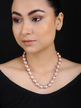 Pink Baroque Pearl Beaded Silver Necklace