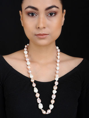 Pink Baroque Pearl Silver Necklace