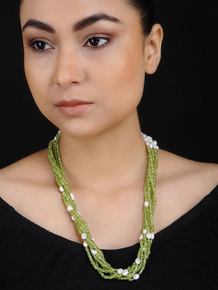 Peridot and Freshwater Pearl Beaded Silver Necklace
