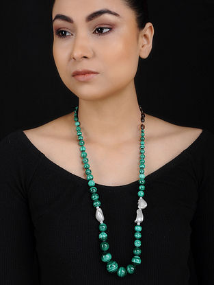 Malachite and Baroque Pearl Beaded Silver Necklace