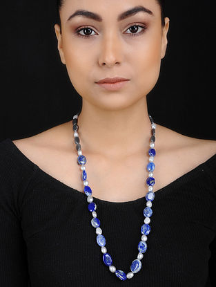 Lapis Lazuli and Pearl Beaded Silver Necklace