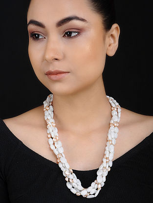 Pink Baroque Pearl and Moonstone Beaded Silver Necklace